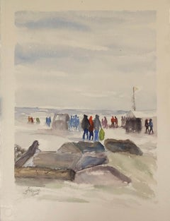"""Polar Bear Plunge Bradford Beach (Milwaukee, WI),"" Watercolor by Julia Taylor"