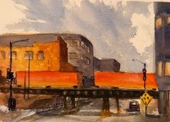 """Railroad Bridge on Pittsburgh Street,"" Watercolor City Scene by Julia Taylor"