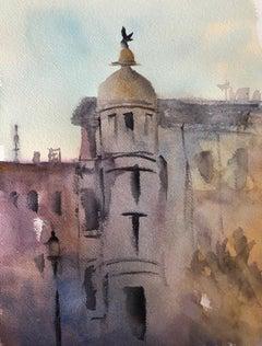 """Stockholm Evening,"" Watercolor on Paper Landscape by Julia Taylor"