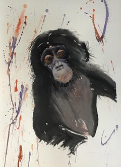 """The Last of the Bonobos,"" Watercolor on Paper Monkey Portrait by Julia Taylor"