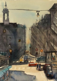 """""""Stockholm Midday in July(Sweden)"""" Watercolor on Paper Cityscape by Julia Taylor"""