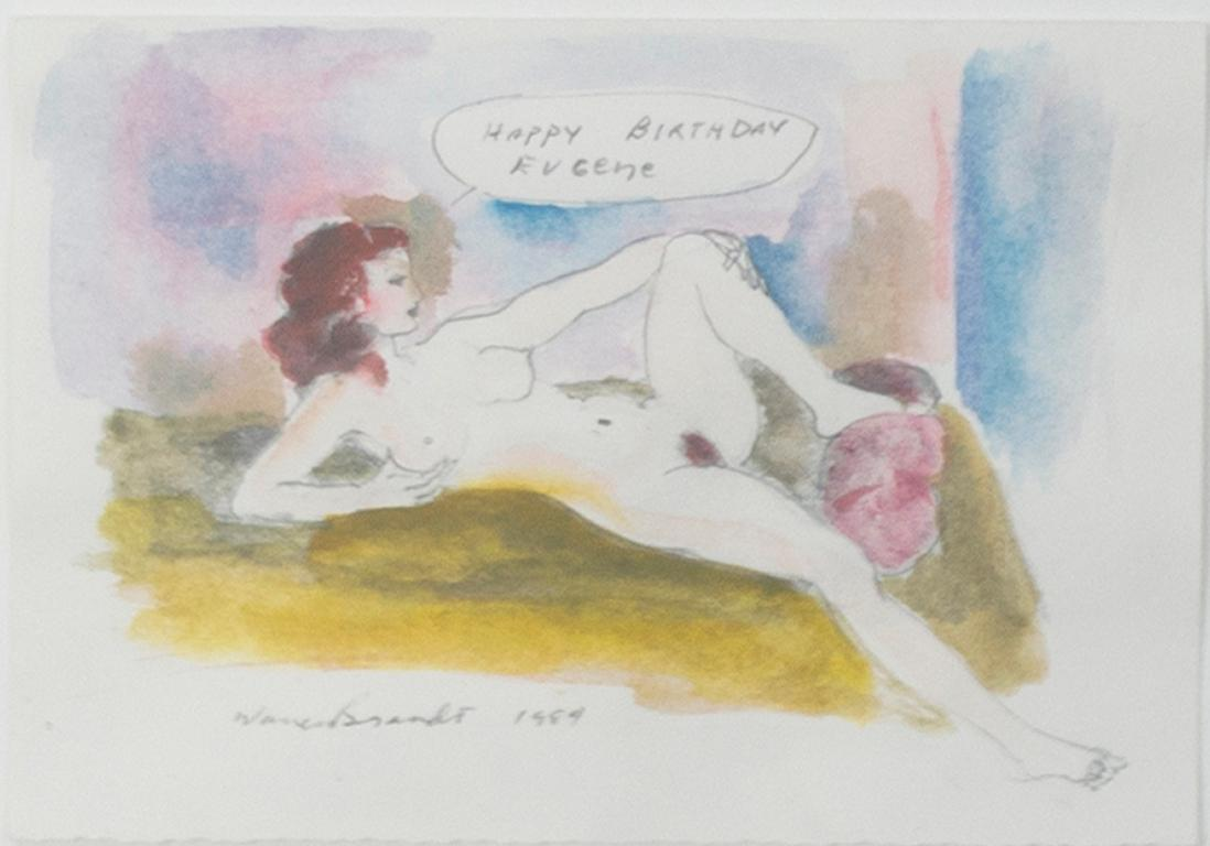 """""""Happy Birthday,"""" Nude Watercolor and Pencil on Paper signed by Warren Brandt"""