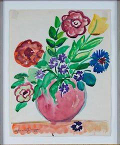 """Red Vase of Flowers on Orange Tablecloth,"" Watercolor signed by Sylvia Spicuzza"