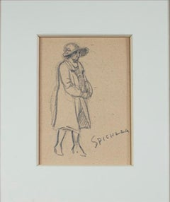 """Woman in Coat & Fancy Hat,"" Graphite Drawing signed by Sylvia Spicuzza"
