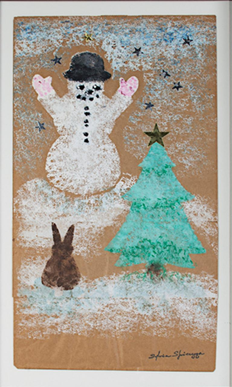 """""""Winter Wonderland (Snowman, Pine Tree, Rabbit)"""" is a gouache and collage on paper bag signed by Sylvia Spicuzza. A winter scene showing a happy snowman that was created with arms up in the air and a top hat upon his head. In the foreground sits a"""
