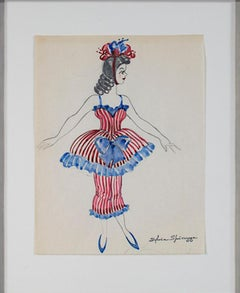 """Woman in Fancy Costume Estate #752,"" Watercolor & Graphite signed by Spicuzza"
