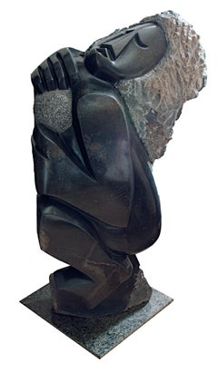 """Joyful Bowler,"" Serpentine Sculpture signed by Felix Mlungisi an African Shona"