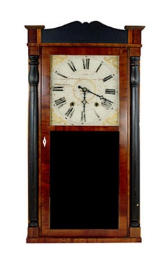 """30 Hour Clock,"" Wooden Gears with Original Face, Glass, & Mirror"