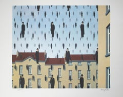 """""""Golconde (Golconda),"""" Color Lithograph after 1953 Original Oil by Rene Magritte"""