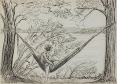 """Girl in Hammock - Big Cedar Lake"" original graphite drawing by Sylvia Spicuzza"