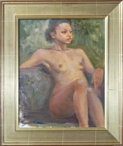 """Female Nude,"" original signed oil painting by Christiane Bouret"