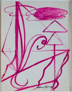 """Abstract With Clouds,"" Original Pink Ink signed by Sylvia Spicuzza"