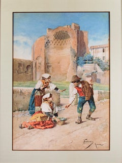 """""""Three Children Playing in a Courtyard"""" Giclee Print signed by Federico Ballesio"""