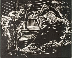 """Swimmers,"" Seascape Linoleum Cut by Clarice George Logan"