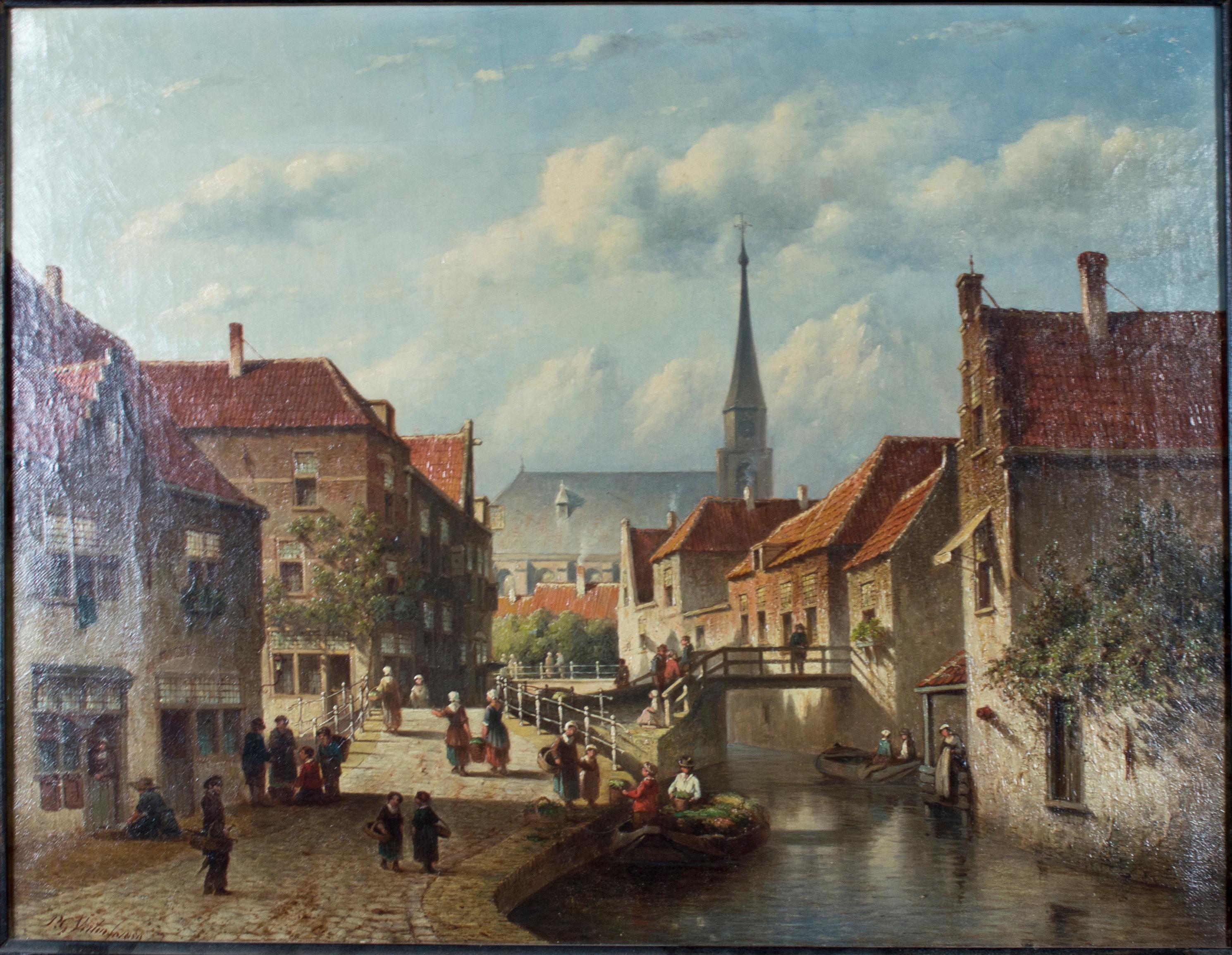 """Town Scene,"" Oil on Canvas European Cityscape by Petrus Gerardus Vertin"