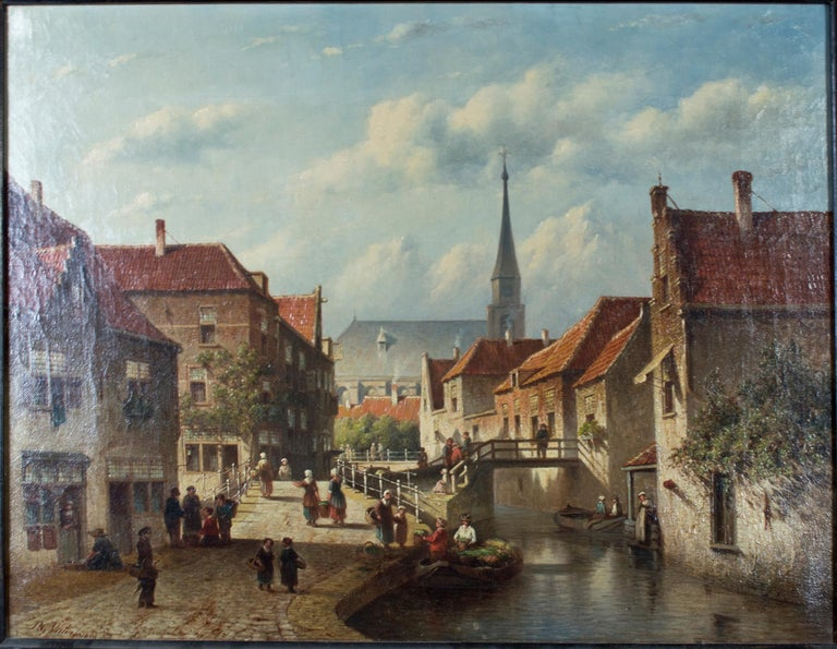 """Town Scene"" is an original oil on canvas by Petrus Gerardus Vertin. The city scene shows an idyllic view of a bustling European city of the past. The busy citizens are moving to their next destination, while lazy clouds float by in the sky."
