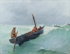 """Fishermen"" Oil on Board Maritime Scene during a Storm signed by George Haquette"