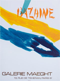 """Galerie Maeght,"" Graphic Color Lines Lithograph Poster by Jean Rene Bazaine"
