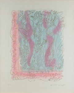 """""""Les Erophages"""" Etching & Aquatint with Gold Ink on Paper signed by Andre Masson"""