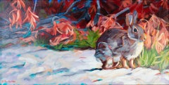 """""""Fall Hare,"""" Oil on Board Animal Portrait Outside signed by Cathryn Ruvalcaba"""