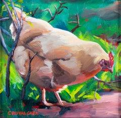"""""""Feeling Peckish,"""" Oil on Board Chicken Portrait signed by Cathryn Ruvalcaba"""