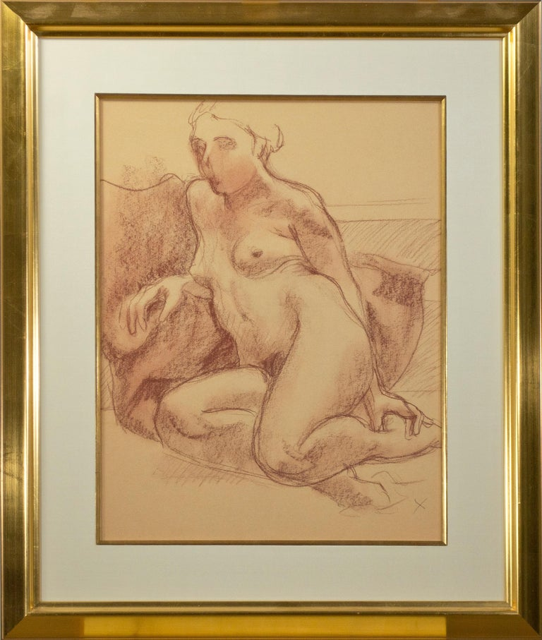 """""""Seated Nude with 'X'"""" is a conté crayon drawing on paper by the American artist Sandra Sweeney (1947 - 2017). The figure study captures an intimate and candid moment: In the image, a nude lady reclines against assorted blankets, her gaze deferred"""