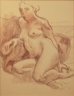 """""""Seated Nude with 'X',"""" Conte Crayon on Paper by Sandra Sweeney"""