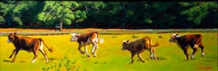 """Young Bulls in Spring,"" original signed oil painting by Cathryn Ruvalcaba"