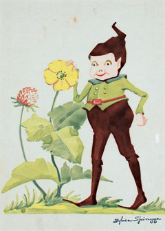 """Billy the Brownie With Flowers #407"" original tempera by Sylvia Spicuzza"