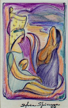 """Two Women Bathers at the Beach #403"" original crayon drawing by Sylvia Spicuzza"
