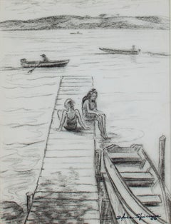 """Summertime Fun at Big Cedar Lake"" original charcoal drawing by Sylvia Spicuzza"
