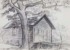 """Old Cabin Near Big Cedar Lake"" original charcoal drawing by Sylvia Spicuzza"