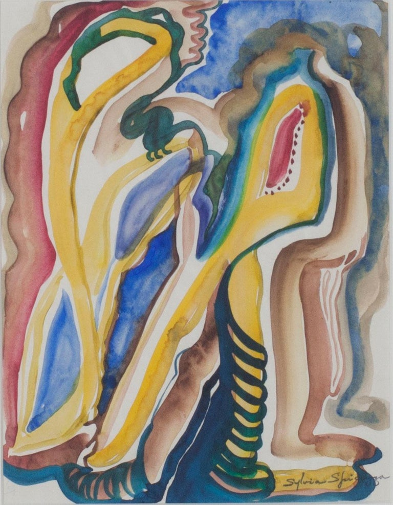 In the 1960s, Sylvia Spicuzza made several watercolor abstractions with biomorphic qualities like the one presented here. While being a playful abstraction, the watercolor also seeps into the paper resembling contemporaneous abstract expressionist