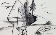 """Downtown Lakefront"" original conte cubist drawing by Sylvia Spicuzza"