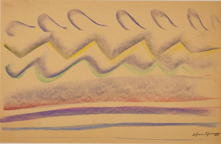 In this pastel drawing, Sylvia Spicuzza presents the viewer with a rhythmic view resembling waves and rolling hills. The colors of the repeating patterns and softness of the undulating lines recall the paintings of Georgia O'Keeffe and her abstract