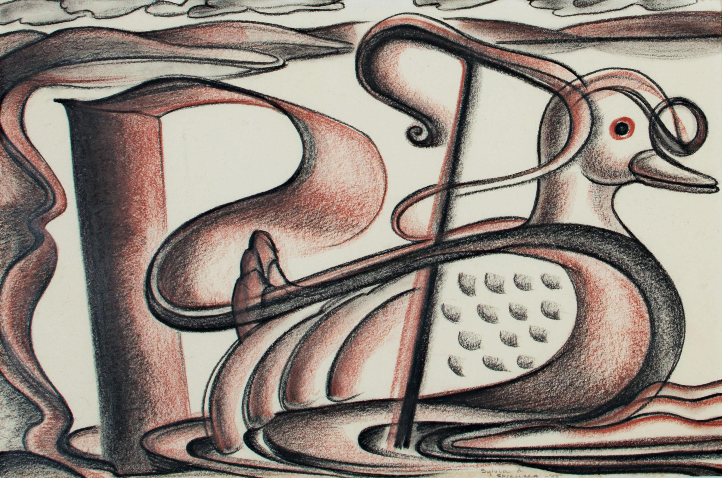 """""""Petie (Duck)"""" conte crayon drawing signed by Sylvia Spicuzza"""