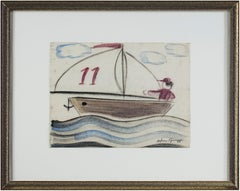 """Boy Sailing"" original pastel drawing by Sylvia Spicuzza"