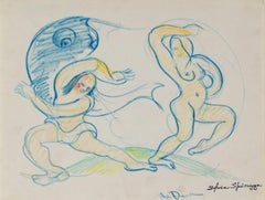 """The Dance"" original crayon drawing inscribed by Sylvia Spicuzza"