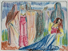"""Five Actresses"" original crayon drawing by Sylvia Spicuzza"