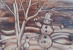 """Snowman"" original finger painting signed by Sylvia Spicuzza"