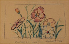 """Pansies"" original crayon drawing by Sylvia Spicuzza"