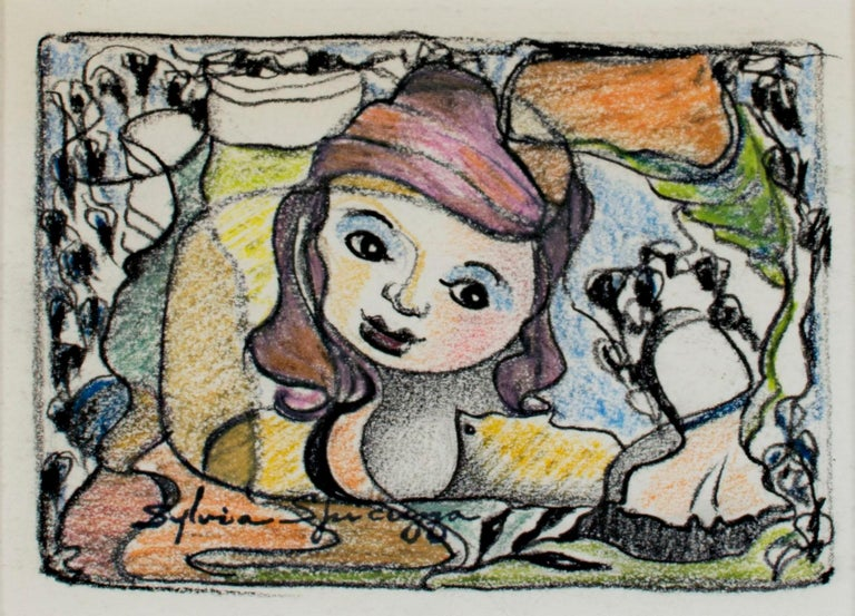 In this intimate drawing, Sylvia Spicuzza presents the viewer with a young woman crouched down in a garden. The image is framed by foliage and fields of color.   3.75 x 5.25 inches, artwork 11.38 x 12.75 inches, frame stamped with artist signature