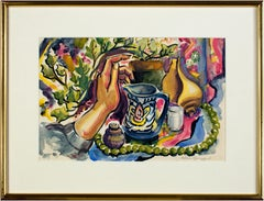 """Still Life with Artist's Hand"" original watercolor signed by Sylvia Spicuzza"