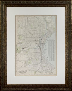 'Map of Milwaukee' color lithograph published by George F. Cram of Chicago