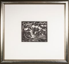 'The Rabbit' original woodcut engraving by Clarice George Logan