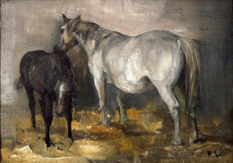 'Two Horses, and Landscape' original oil painting by Richard Lorenz For Sale 1
