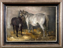 'Two Horses, and Landscape' original oil painting by Richard Lorenz