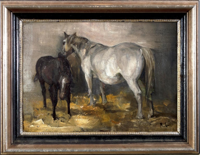This is a delightful example of the paintings of noted Midwestern artist Richard Lorenz. The painting has an image on each side of the board: on the face, Lorenz depicts two horses. They stand on yellow hay, but the figures are otherwise built from