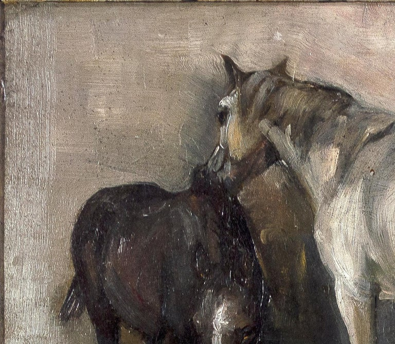 'Two Horses, and Landscape' original oil painting by Richard Lorenz For Sale 4