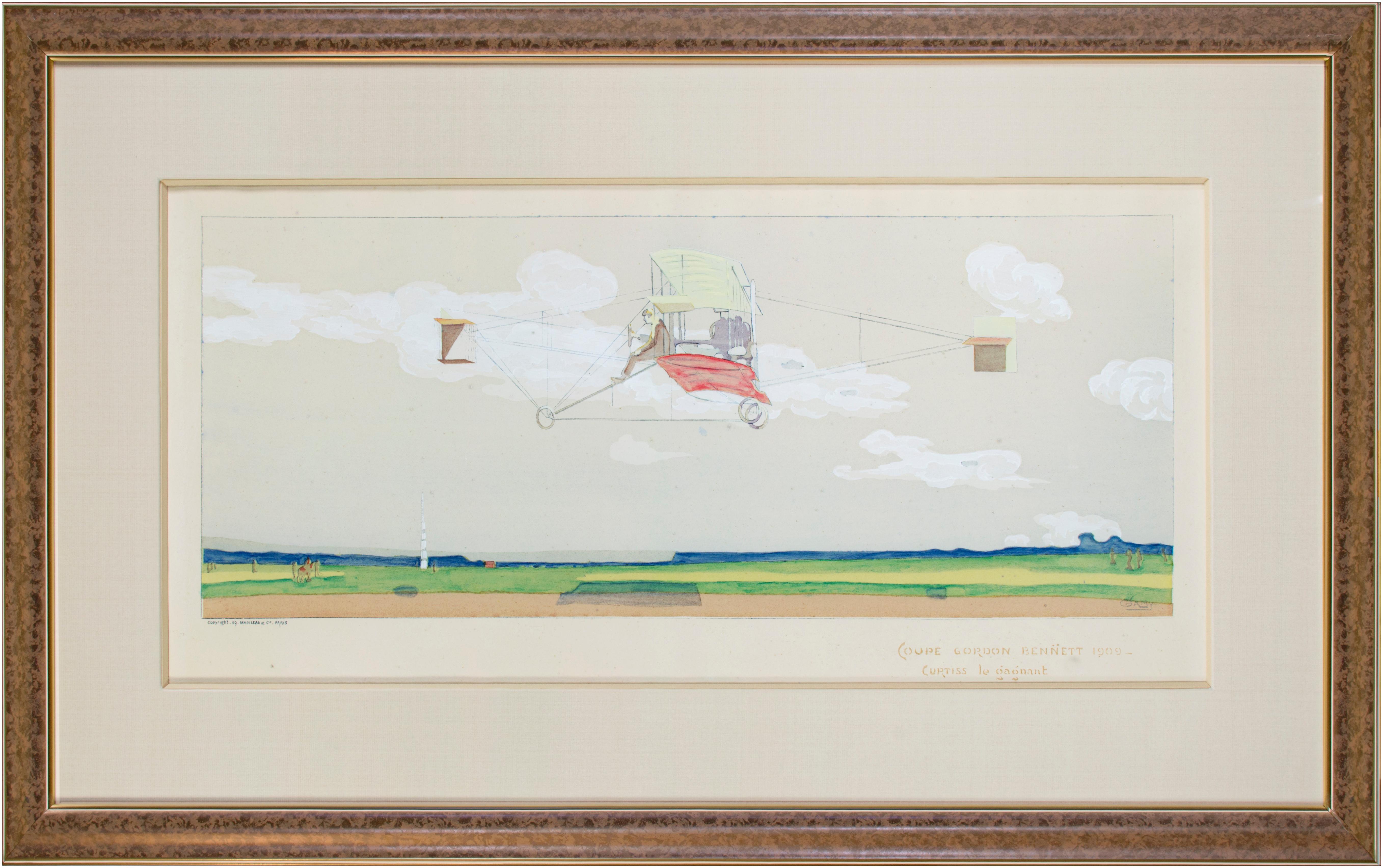 "'Coupe Gordon Bennett 1909' original lithograph by Marguerite ""Gamy"" Montaut"